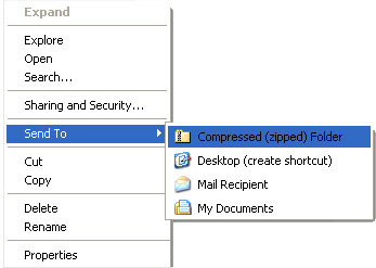 Sending a folder or a group of files Zipping files or folders